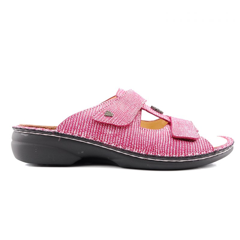 Pattaya slipper rood/wit print leer
