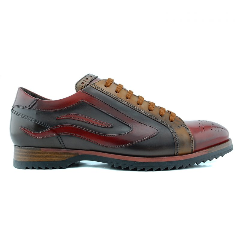 312276 sneaker veterschoen gekleed bordo/bruin lee