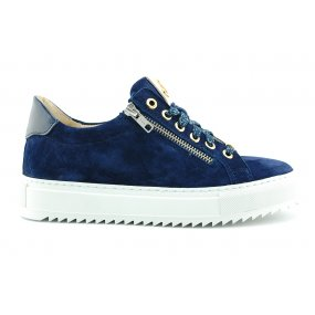 Maud K Footnotes sneaker/rits blauw suede