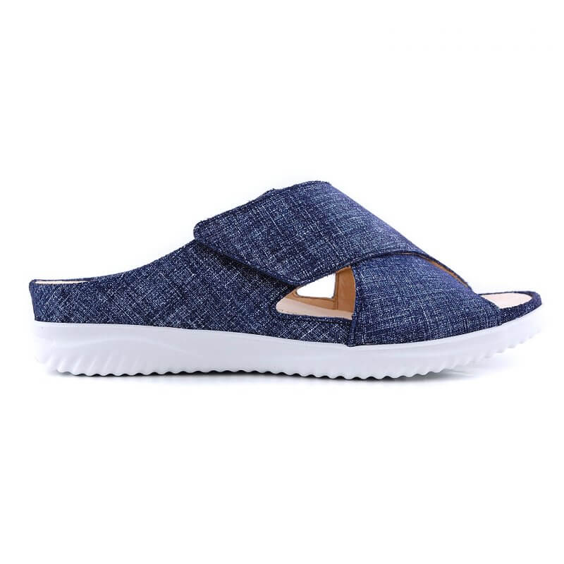 110622 slipper klitteband blauw metallic