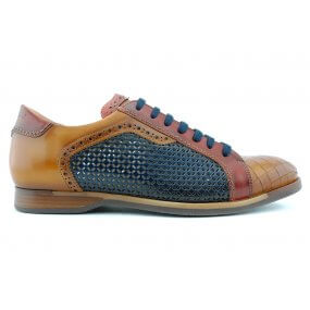 316308veter rubberzool cognac/blauw/bordocombi